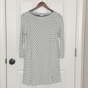 J. Jill Ponte Knit Gray Ivory Tunic Dress Sz S